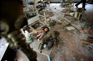 Childrens toys and gas masks litter a kindergarten classroom in Pripyat, Ukraine, just a few miles from Chernobyl.